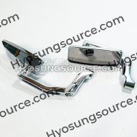 8/10mm Chrome Rectangle Rearview Mirrors For Motorcycle Scooter