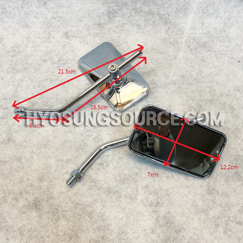 10MM Chrome Rectangle Rearview Mirrors Motorcycle Scooter