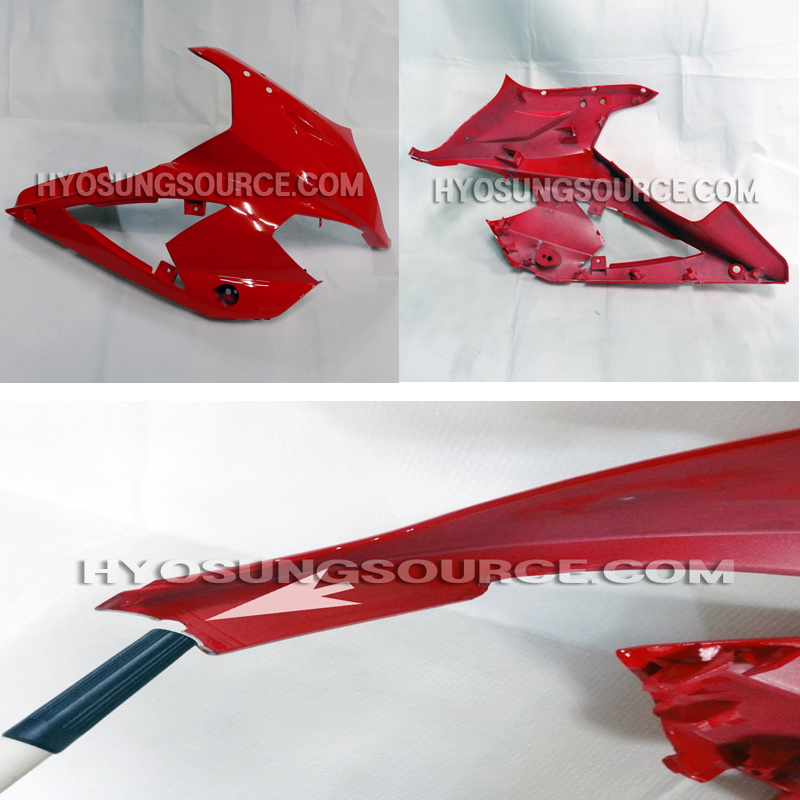 Red Right Upper Cowling Fairing Used Hyosung GT250R GT650R